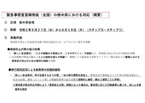 別添1_緊急事態宣言解除後(全国)の栃木県における対応(概要)のサムネイル